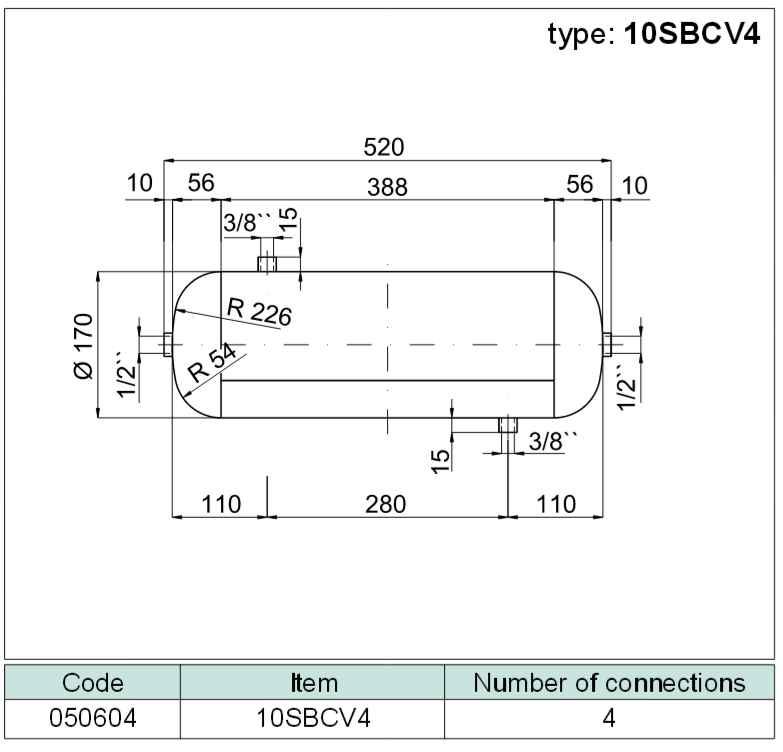 tlaková nádoba ležatá (vzdušník) se 4 připoj. závity, objem 10 litrů SBCV4-10