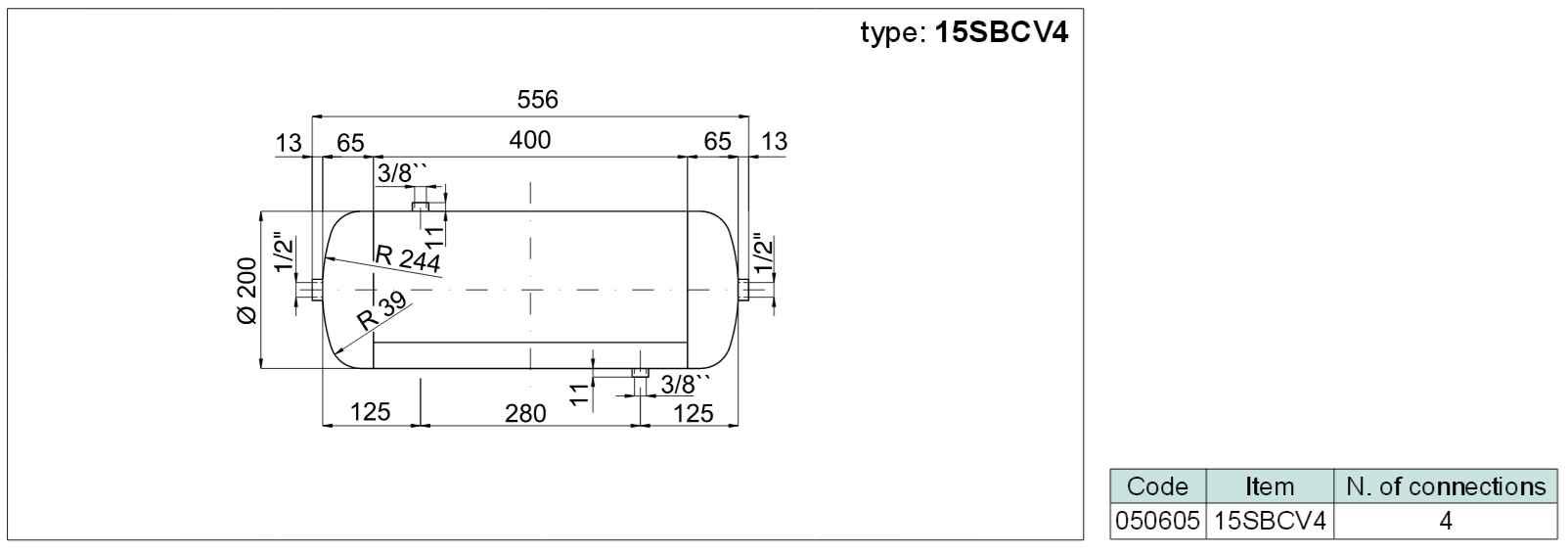 tlaková nádoba ležatá (vzdušník) se 4 připoj. závity, objem 15 litrů SBCV4-15