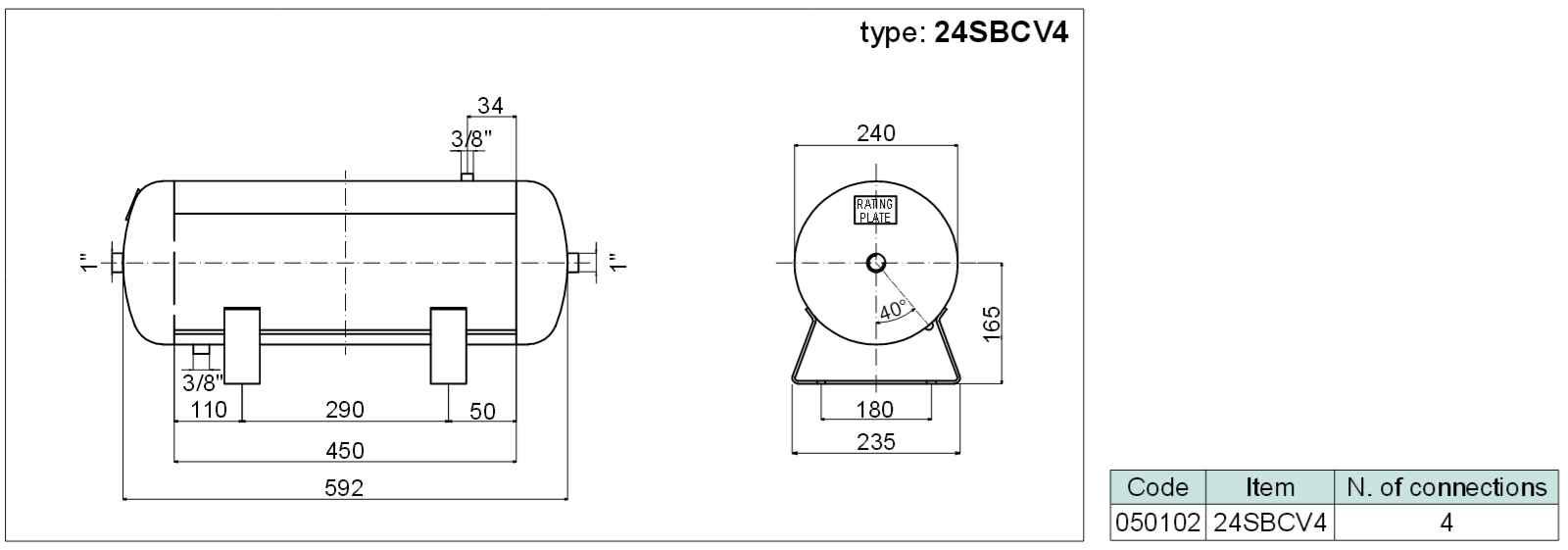 tlaková nádoba ležatá (vzdušník) se 4 připoj. závity, objem 24 litrů SBCV4-24