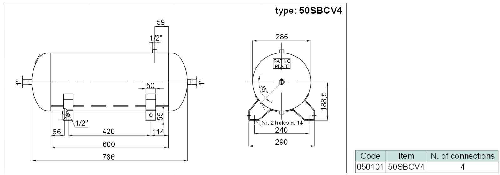 tlaková nádoba ležatá (vzdušník) se 4 připoj. závity, objem 50 litrů SBCV4-50