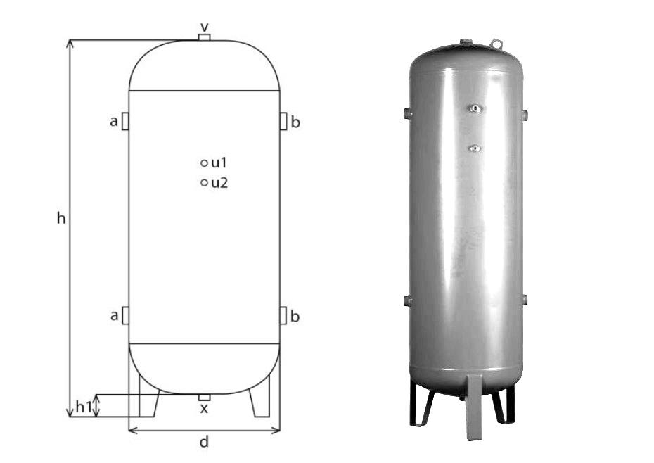 tlaková nádoba stojatá (vzdušník) pro vzduch a dusík oboustranně galvanizovaná, 1000 litrů