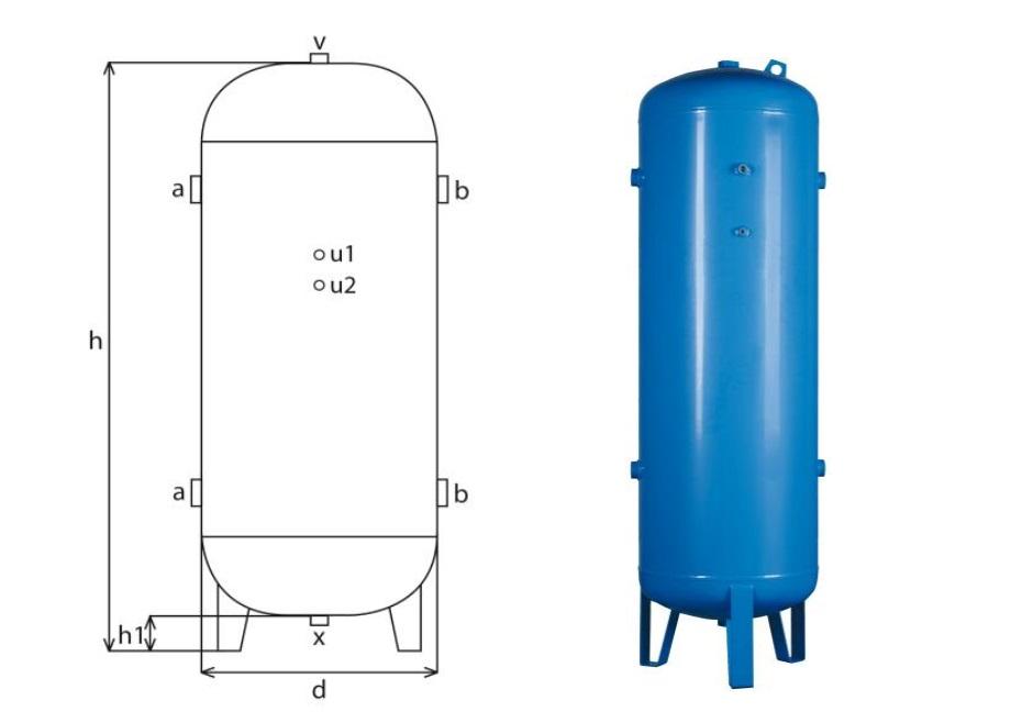 tlaková nádoba stojatá (vzdušník) pro stlačený vzduch a dusík zevně lakovaná, 900 litrů