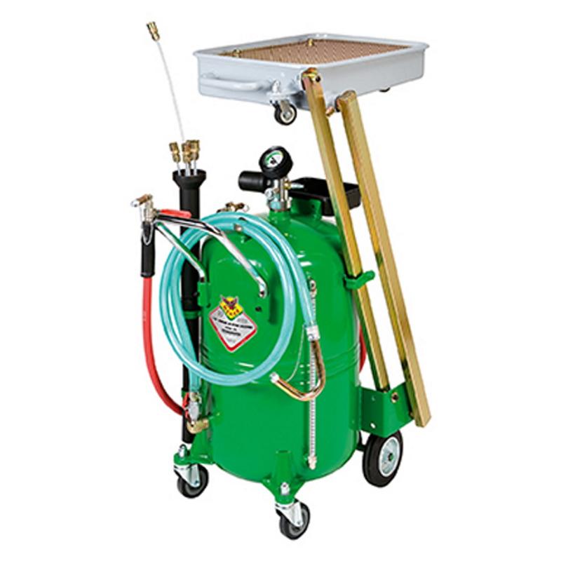 odsavačka a vypouštěčka olejů pneumatická se sklopnou sběrnou vaničkou RAASM 46065
