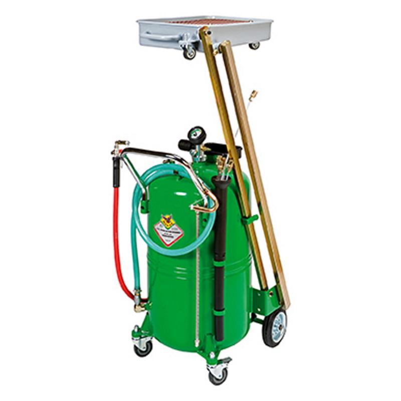 odsavačka a vypouštěčka olejů pneumatická se sklopnou sběrnou vaničkou RAASM 46115