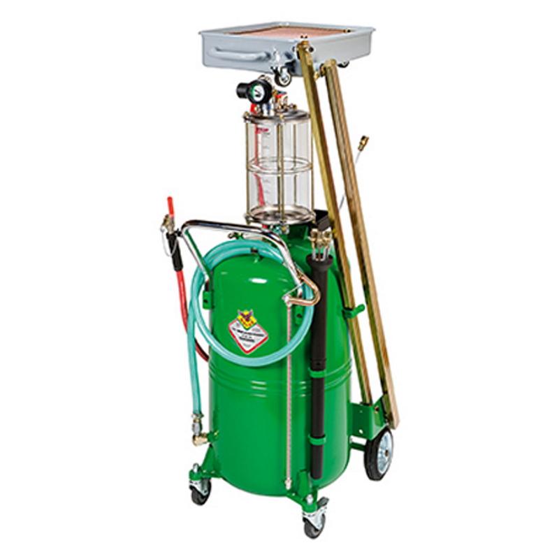 odsavačka a vypouštěčka olejů pneumatická se sklopnou sběrnou vaničkou RAASM 46116
